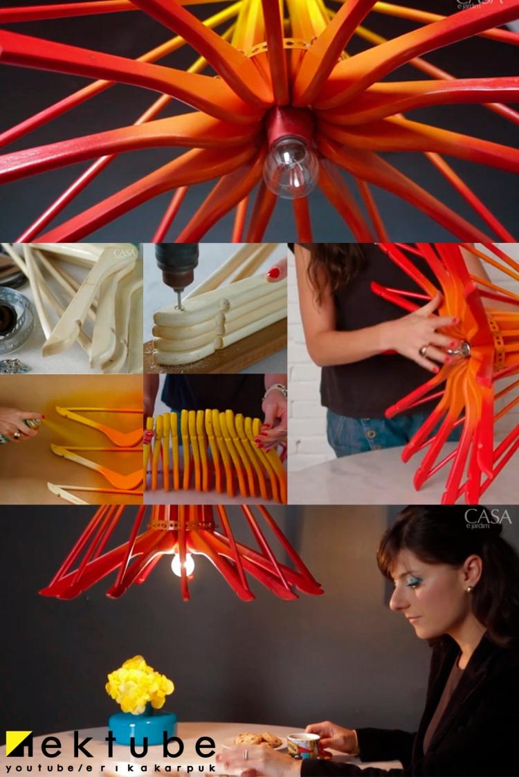 luminária de cabides diy por Erika karpuk