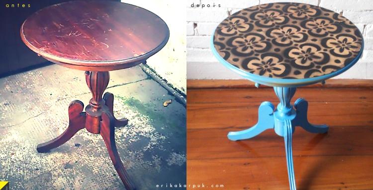Mesa com estêncil - antes e depois por Erika Karpuk
