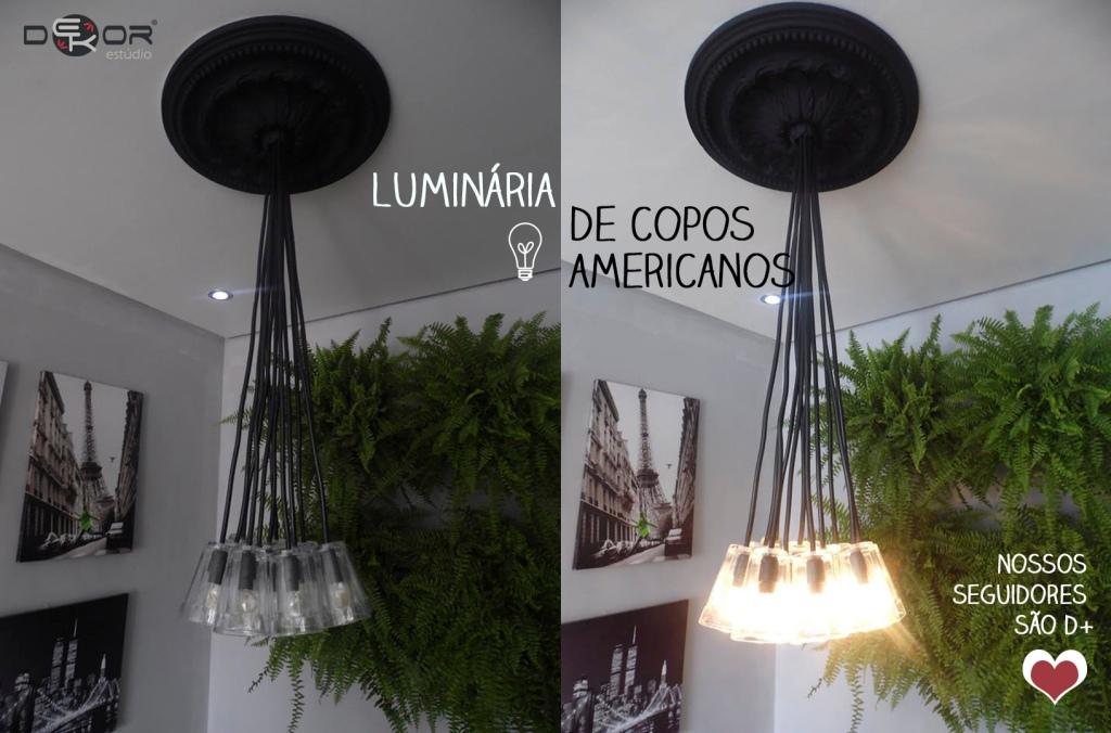 Luminária de copos americanos