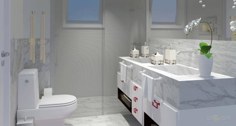 Projeto de Banheiro – Decoração Online #19  Erika Karpuk -> Banheiro Feminino Chique