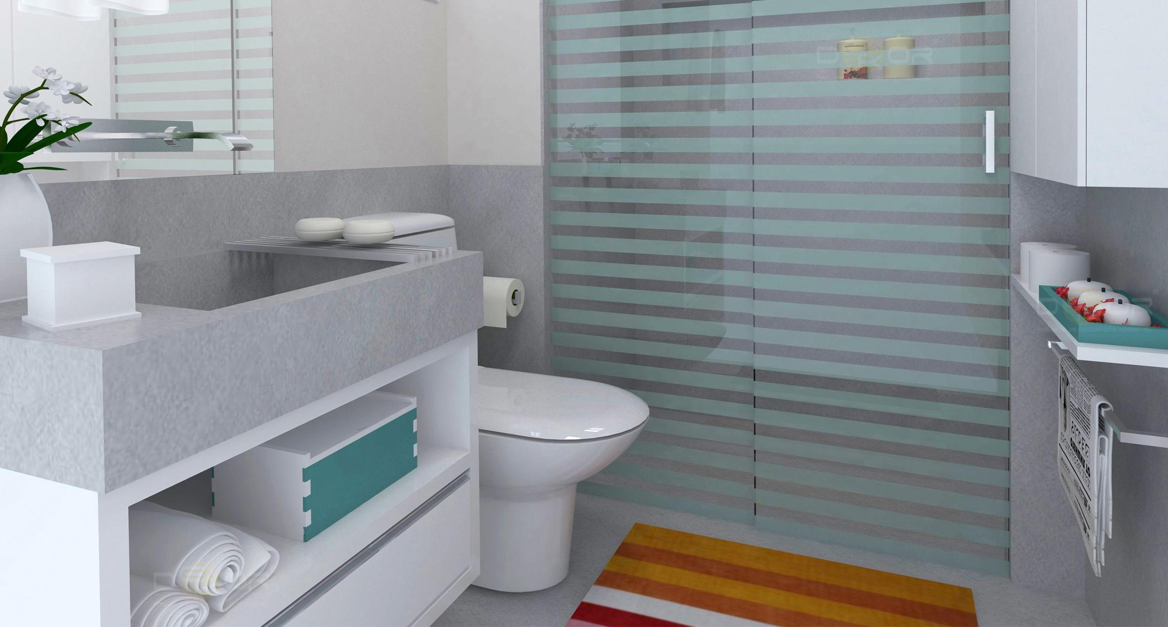 Nesse banheiro todo o espaço foi muito bem aproveitado. A pia é  #773D13 2402 1290