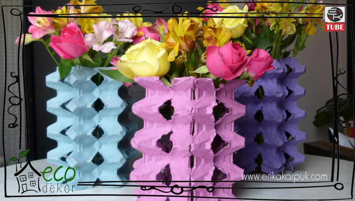 Eco Dekor - reutilizando caixas de ovos na decoração - vasos