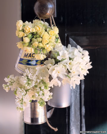 rótulos, latas e flores - martha stewart