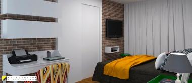 A porta original do banheiro que ficava aos pés da cama foi trocada por um painel inteiriço com porta de correr, que equilibrou as proporções e cores desse dormitório. Tijolinhos a vista, branco e pontuações de cores bem marcantes foram escolhidos para a base da decoração desse AP em SP de 120m2. Projeto Erika Karpuk