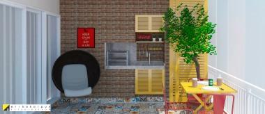 A churrasqueira fica resguardada por uma porta linda de correr quando não está em uso. Projeto Erika Karpuk