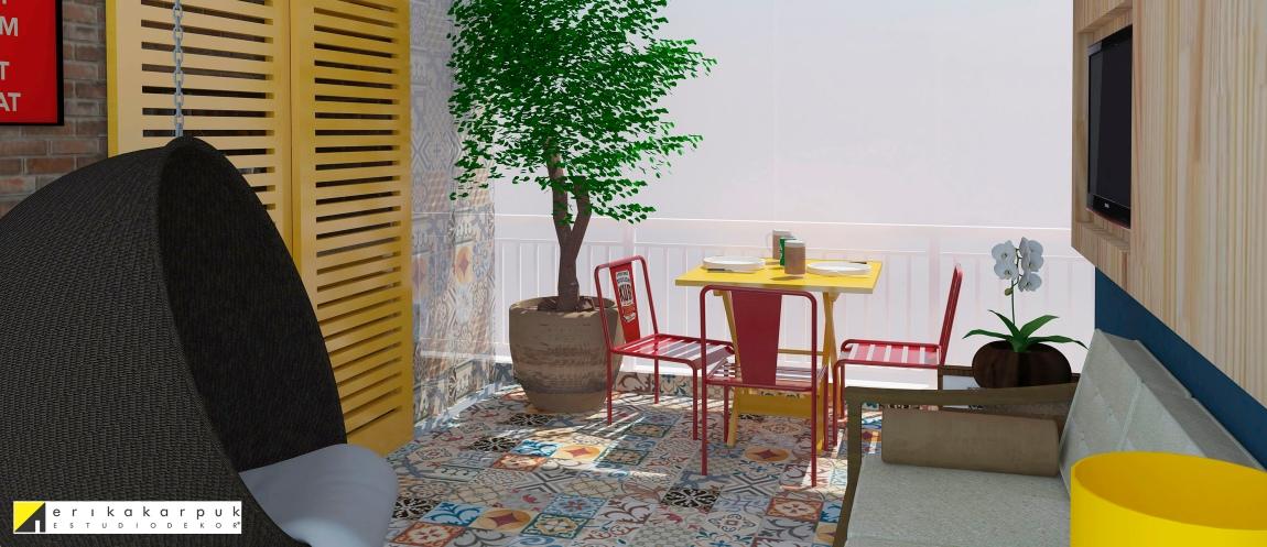 Uma varanda simples transformada num quintal de casa. Essa foi a intenção principal desse projeto, que também priorizou a integração com a sala de estar, ampliando assim a área de uso social do AP. Projeto Erika Karpuk