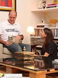 Erika e Marcelo com a gata Angelina