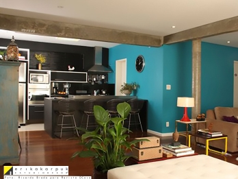 Salas e cozinha integradas - Projeto Erika Karpuk