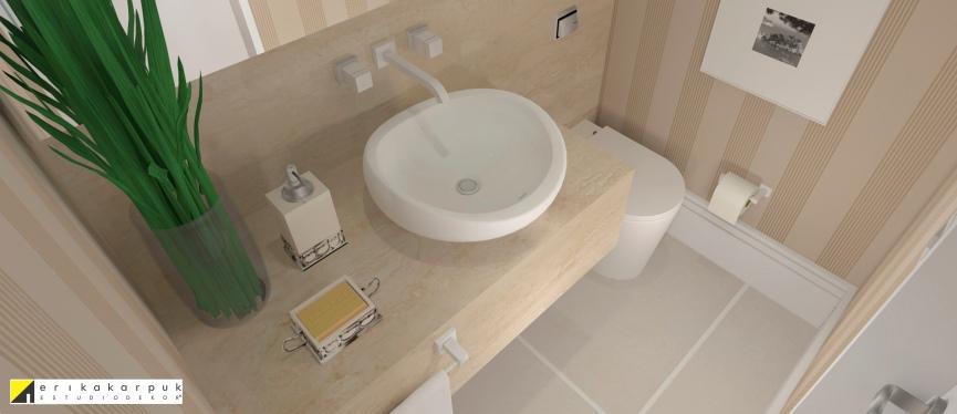 O Lavabo recebeu aplicação de papel de parede, espelho inteiriço e mármore na bancada e frontão. Apartamento Clássico Contemporâneo em SP projeto Erika karpuk