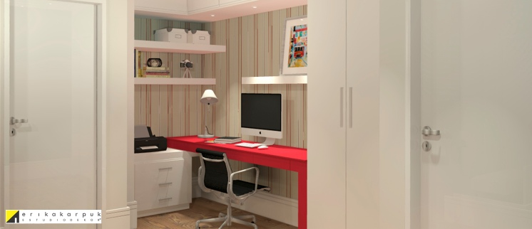 Home office. Apartamento Clássico Contemporâneo em SP projeto Erika karpuk