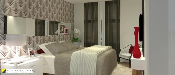 Dormitório do casal. Apartamento Clássico Contemporâneo em SP projeto Erika karpuk