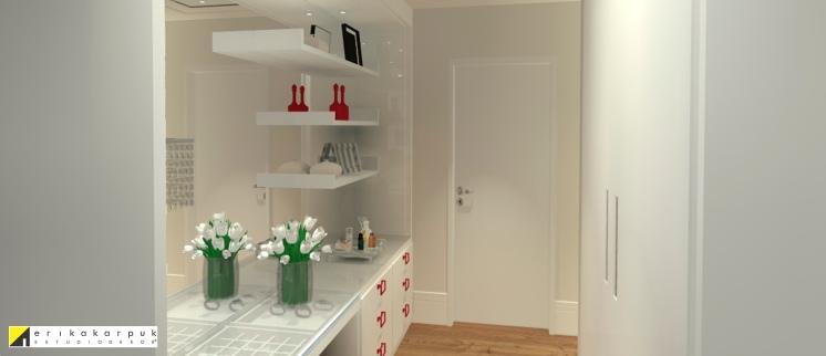 Closet da senhora com área para maquiagem. Apartamento Clássico Contemporâneo em SP projeto Erika karpuk