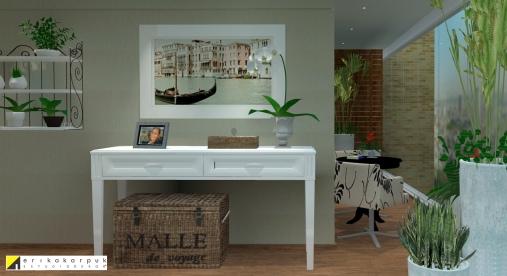Varanda com alguns detalhes que fazem lembrar os tempos da antiga casa da família. Apartamento Clássico Contemporâneo em SP projeto Erika karpuk