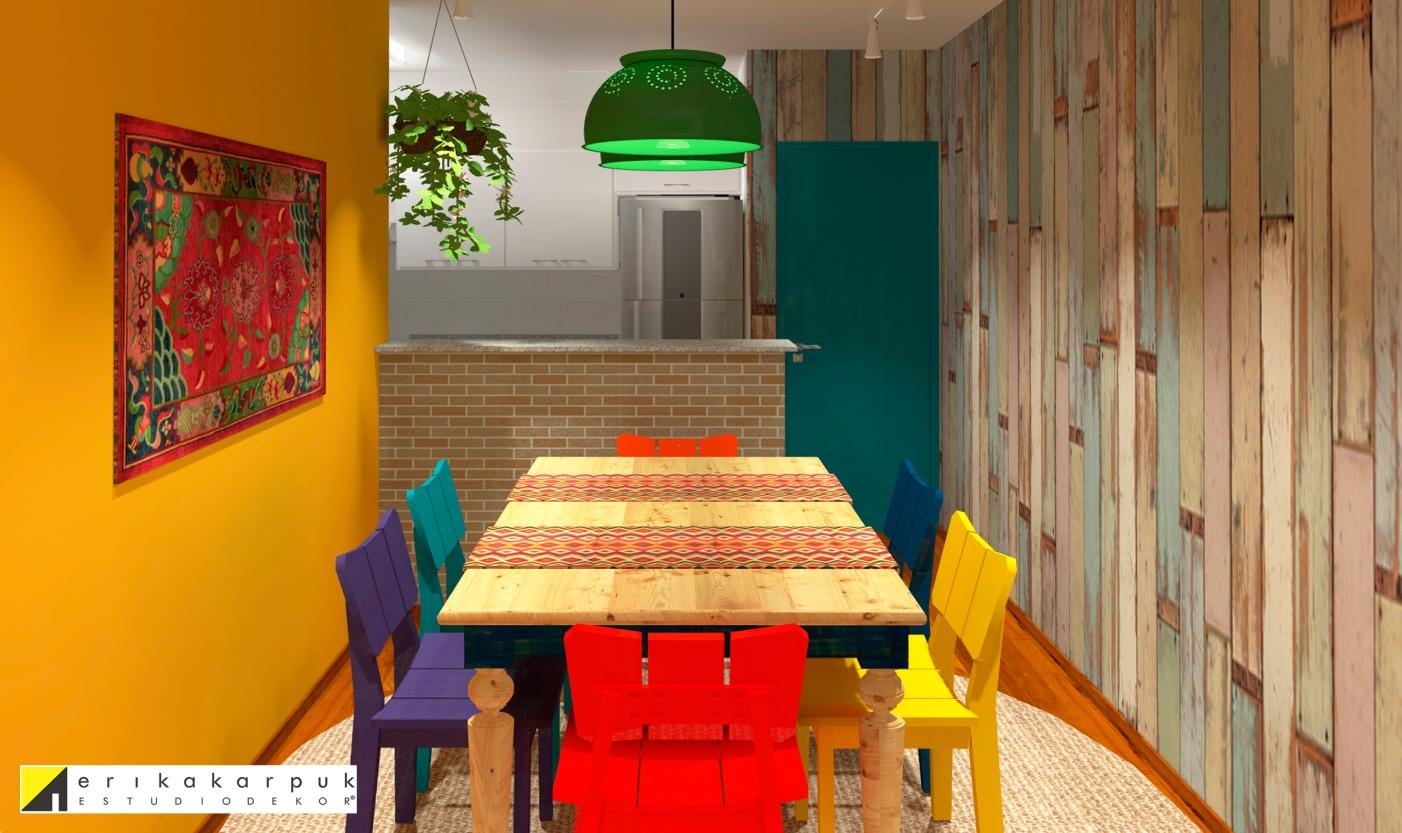 O lustre pendente é uma solução linda e barata: escorredor de macarrão metálico pintado. A parede foi revestida com adesivo estampado de madeira de demolição. E para decorar a parede, usamos um tear ou tecido bordado, que é uma ótima opção para preencher as paredes de uma forma econômica. Aprenda a fazer um lustre de escorredor no youtube.com/erikakarpuk . Projeto Erika Karpuk|Estúdio Dekor. Colaboração Diogo Rodrigues