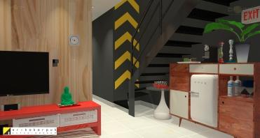 Sala de TV e home office. Com parede revestida com lambri de madeira pinus. Apartamento Geek . projeto Erika Karpuk