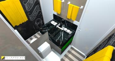 Banheiro masculino pequeno ganha profundidade com espelho. Na outra parede a parede de lousa faz a decoração ficar mais divertida.Lavabo mega descolado e econômico. Decorado com tubulação pintada, que serve para a pia, para pendurar jornal, papel e a toalha. Apartamento Geek . projeto Erika Karpuk