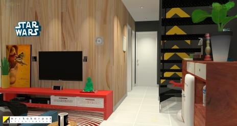 Sala de TV. Com parede revestida com lambri de madeira pinus. Apartamento Geek . projeto Erika Karpuk