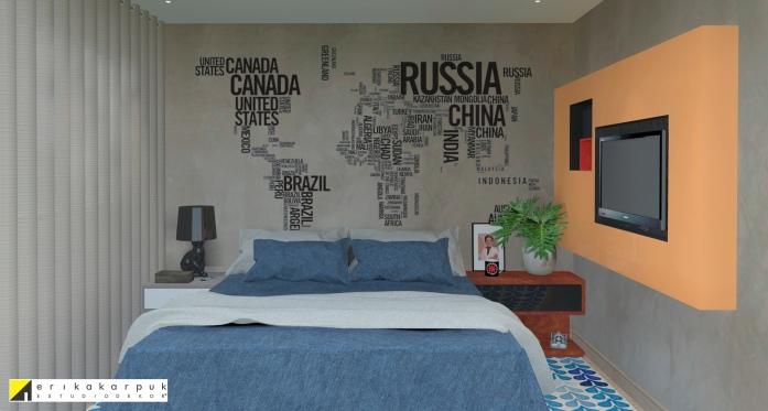 Quarto do solteiro. Parede de cimento com Mapa em vinil e painel para tv na parede lateral. Apartamento Geek . projeto Erika Karpuk