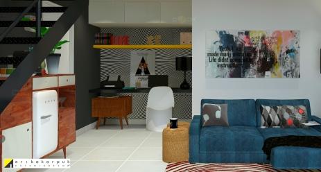 Home Office compacto mas com estilo. Apartamento Geek . projeto Erika Karpuk