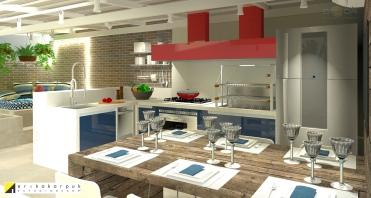 Cozinha gourmet com área Relax e ofurô. Sonho de consumo da decoração. Apartamento Geek . projeto Erika Karpuk