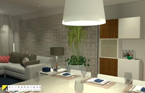 Sala de Jantar e estar. Revestimento com seixos na parede. Apartamento no RJ. Por Erika Karpuk