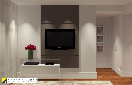 Painel da tv do Dormitório. Apartamento no RJ. Por Erika Karpuk