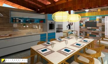 área da churrasqueira com lounge e ao fundo o painel de mosaico com madeira de demolição e ladrilhos recobre a parede da área da lavanderia. projeto erika karpuk