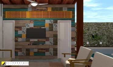 painel de mosaico com madeira de demolição e ladrilhos recobre a parede da área da lavanderia. projeto erika karpuk