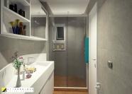 O lavabo com uso para banho foi redesenhado para garantir o conforto dos moradores e convidados. projeto Erika Karpuk