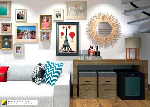 A decoração se estendeu até o limite da escada, ampliando a parede atrás do sofá e contribuindo para ampliar o ambiente - Duplex em SBC . projeto Erika Karpuk