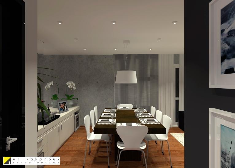 O tom acinzentado do cimento das paredes é equilibrado com tons de brancos e beges em todos os elementos da sala. Sala Urbana e Chic. Projeto Erika Karpuk