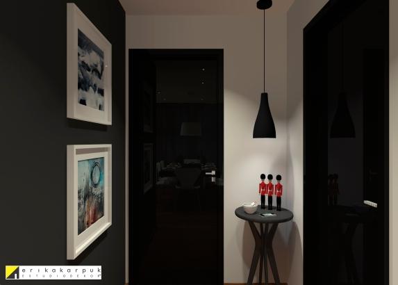 Hall de entrada com as portas pretas com pintura alto brilho. Sala Urbana e Chic. Projeto Erika Karpuk