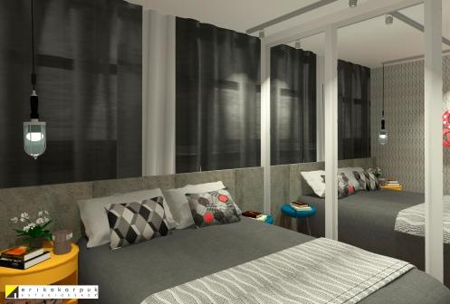 O dormitório em tons sóbrios recebe as cores pontuadas para equilibrar a Dekor -Sobrado pequeno ao estilo industrial em SBC projeto Erika karpuk