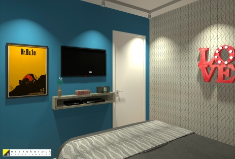 O dormitório em tons sóbrios recebe as cores pontuadas nos detalhes e uma parede azul profundo para equilibrar a Dekor -Sobrado pequeno ao estilo industrial em SBC projeto Erika karpuk