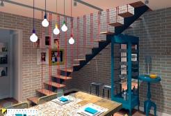 O guarda corpo com cabos de aço pintados de vermelho transformam uma escada comum em um objeto de decoração à parte. Para completar, algumas paredes revestidas com tijolo ao natural finalizam o clima industrial urbano. projeto Erika karpuk