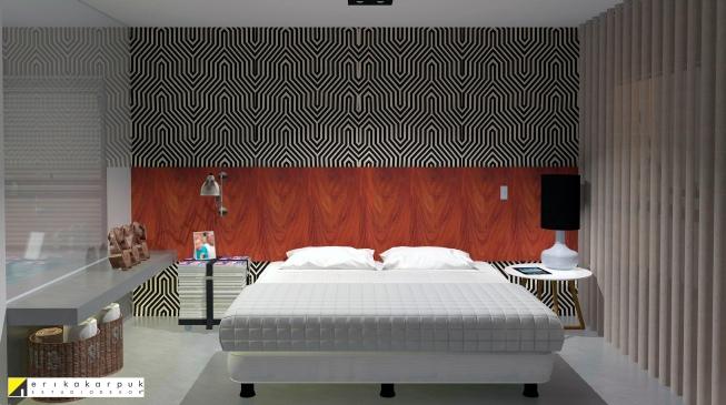 A escolha do papel de parede e tom da madeira da cabeceira foi essencial para o refinamento desse dormitório masculino. the house of blues - ap maxhaus -projeto erika karpuk