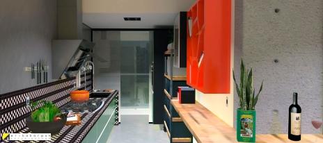 Cozinha aberta integrada à sala, é um convite a boa comida. the house of blues - ap maxhaus -projeto erika karpuk