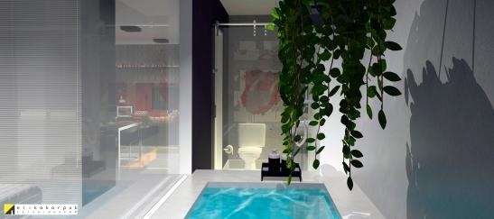 A banheira de concreto executada no local, com visão para o quarto e salas e fechamento com painel de vidro. the house of blues - ap maxhaus -projeto erika karpuk