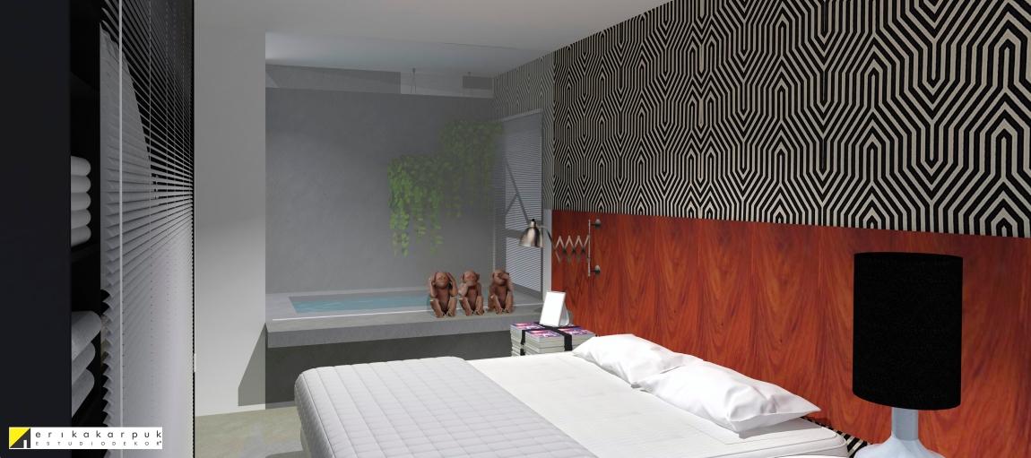 A banheira de concreto tem visibilidade total por um painel de vidro que divide o banheiro edormitório. the house of blues - ap maxhaus -projeto erika karpuk