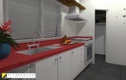 A cozinha foi projetada com a bancada da pia em silestone vermelho. Projeto Erika Karpuk