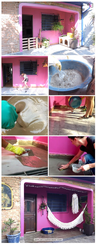Tutorial Como Cobrir Piso Antigo Com Cimento Queimado por Erika Karpuk