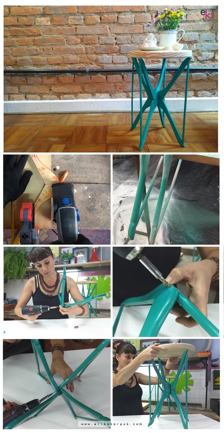 Mesa com cabides por @erikakarpuk . Faça você mesmo, reaproveitamento, decoração