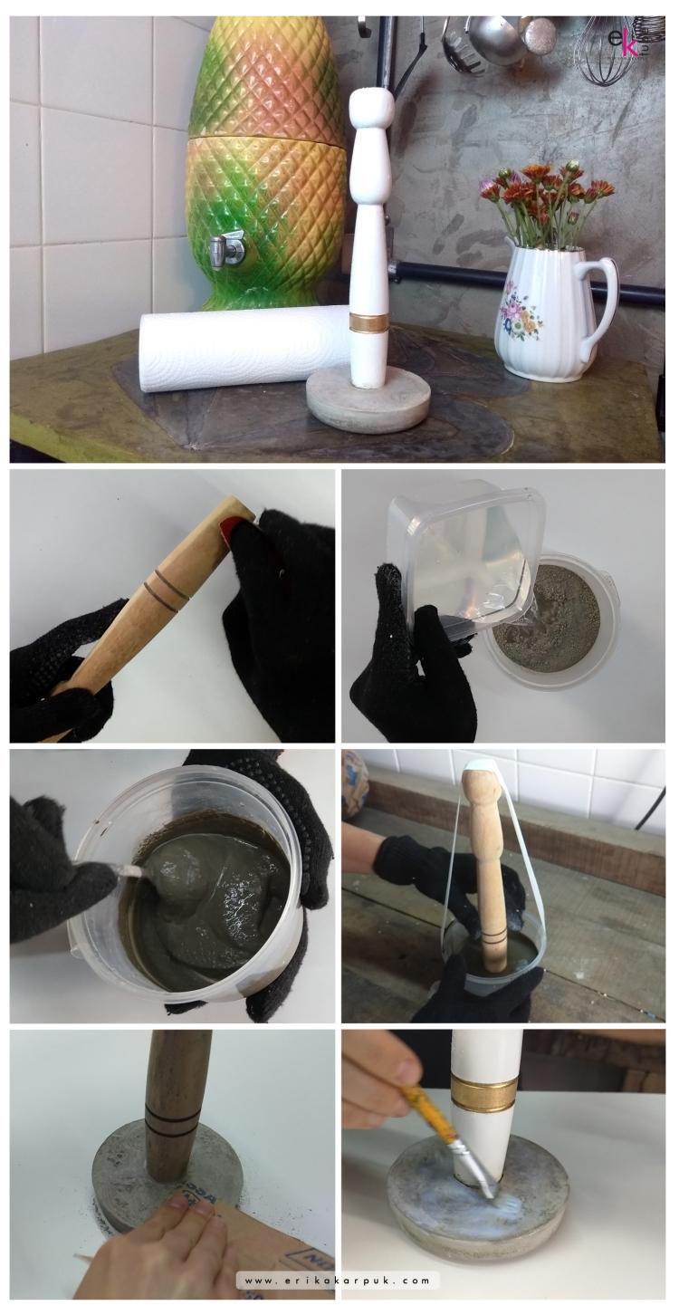 Suporte de papel toalha de cimento faça você mesmo por @erikakarpuk #casadaerika